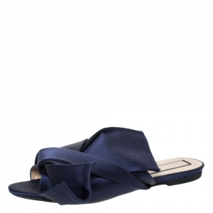 N°21 Blue Satin Knot Flat Mules Size 41