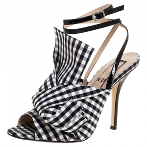 N21 Monochrome Checkered Knotted Fabric Gingham Ankle Wrap Peep Toe Sandals Size 38.5 - used