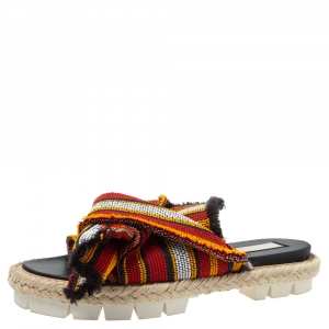 N°21 Multicolor Fabric Knotted Slide Flat Sandals Size 38
