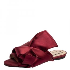 N°21 Burgundy Satin Knot Flat Mules Size 37