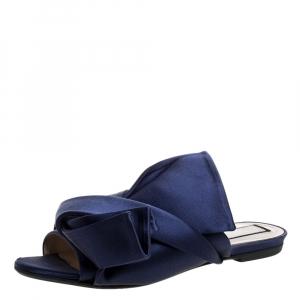 N21 Blue Satin Knot Flat Mules Size 37