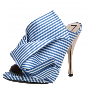 N°21 Light Blue/ White Stripped Satin Bow Mules Sandals Size 40 - used