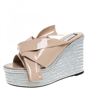 N21 Beige Patent Leather Knotted Espadrille Wedge Platform Sandals Size 41 - used