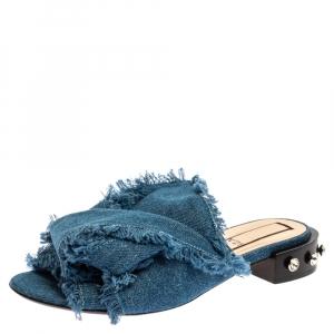N21 Blue Denim Crystal Embellished Knotted Flat Sandals Size 39