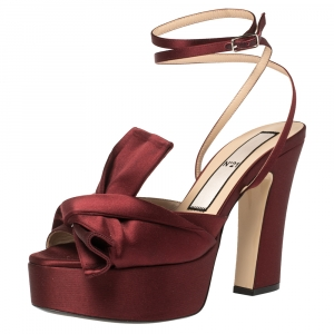 N21 Burgundy Satin Knotted Bow Peep Toe Ankle Wrap Sandals Size 40 - used