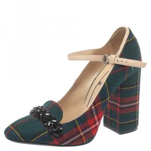 حذاء كعب عالي N21 قماش كاروهات أخضر ماري جين مقاس 38.5