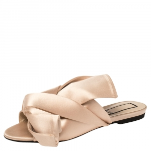 Nº21 Cream Satin Knotted Slide Flats Size 37 - used