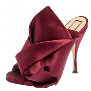 N°21 Burgundy Satin Ronny Pleated Mules Size 36