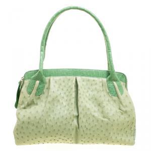 حقيبة كتف نانسي غونزاليز جلد نعام أخضر