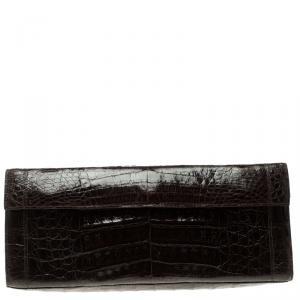 Nancy Gonzalez Dark Brown Crocodile Flap Clutch