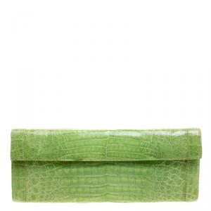 Nancy Gonzalez Kelly Green Crocodile Sherbert Clutch
