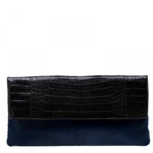 حقيبة كلتش نانسي غونزاليز فرو عجل وجلد تمساح أسود/أزرق