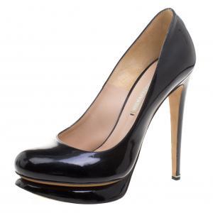Nicholas Kirkwood Black Patent Leather Platform Pumps Size 38.5