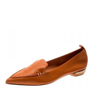 Nicholas Kirkwood Orange Leather Beya Pointed Toe Flats Size 36.5