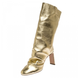 Nicholas Kirkwood Metallic Gold Leather D'arcy Ruched Ankle Boots Size 38.5