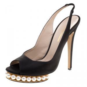 Nicholas Kirkwood Black Satin And Pearl Embellished Platform Slingback Sandals Size 40