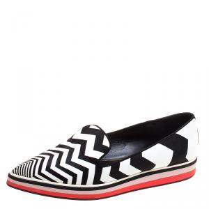 Nicholas Kirkwood Black/White Zig Zag Print Leather Slip On Sneakers Size 37
