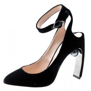 Nicholas Kirkwood Blue Velvet Lola Pearl-Detail High Heel Sandals 38 - used