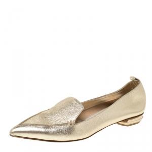Nicholas Kirkwood Gold Metallic Leather Beya Pointed Toe Ballet Flats 37.5