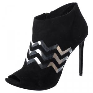 Nicholas Kirkwood Black Suede And PVC Chevron Peep Toe Ankle Booties Size 40 - used