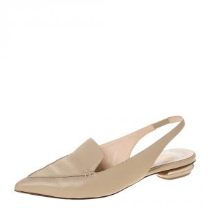 Nicholas Kirkwood Beige Leather Beya Pointed Toe Slingback Sandals Size 39.5