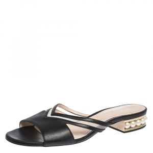 Nicholas Kirkwood Black Mesh and Leather Pearl Embellished Flat Slides Size 41