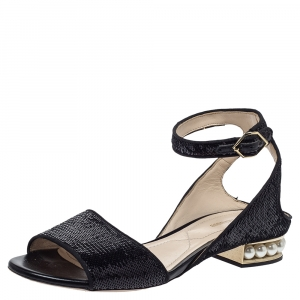 Nicholas Kirkwood Black Sequin Embellished Fabric Casati Pearl Ankle Strap Sandals Size 37.5 - used