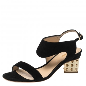Nicholas Kirkwood Black Suede Studded Block Heel Sandals Size 37.5 - used