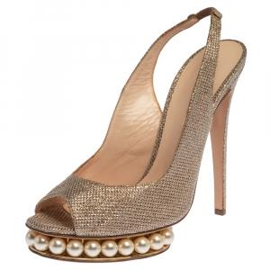 Nicholas Kirkwood Metallic Gold Glitter Fabric Pearl Embellished Platform Slingback Sandals Size 39 - used