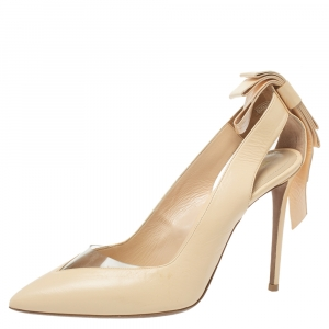 Nicholas Kirkwood Cream Leather And PVC Origami Bow Pointed Toe Pumps Size 39