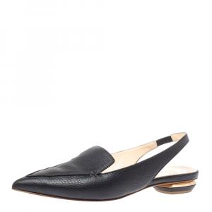 Nicholas Kirkwood Black Leather Beya Slingback Flats Size 39 - used