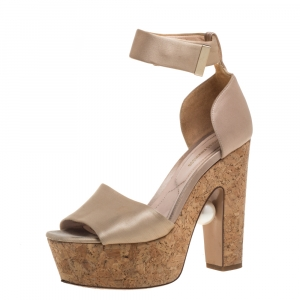 Nicholas Kirkwood Beige Satin Platform Sandals Size 37 - used