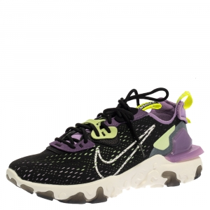 Nike Black/Purple Leather And Fabric React Vision Sneakers Size 43 -