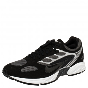 Nike Air Grey/Black Leather And Mesh Ghost Racer Sneakers Size 46