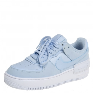 Nike Blue Leather Air Force 1 Shadow Baby Blue Ghost Sneakers Size 37.5