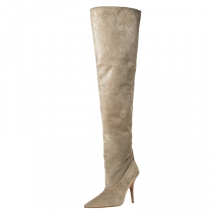 Yeezy Beige Suede Season 5 Over The Knee Pointed Toe Boots Size 38.5