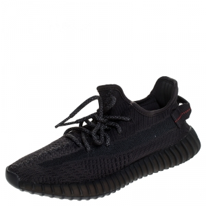 Yeezy x Adidas Black Cotton Knit Boost 350 V2 Sneakers Size 38.5