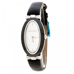 Nina Ricci White Stainless Steel Black Ceramic Oval NO61010SM Women's Wristwatch 24 mm