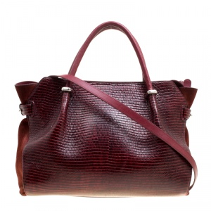 Nina Ricci Burgundy Lizard Embossed Leather and Suede Marche Tote