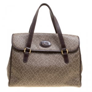 Nina Ricci Brown Coated Canvas and Leather Satchel