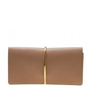 Nina Ricci Dark Beige Leather Arc Clutch
