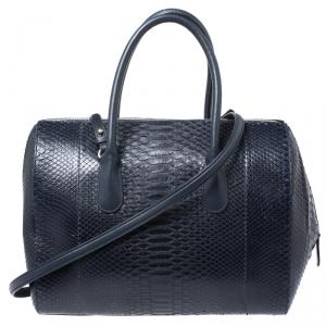 Nina Ricci Navy Blue Python Boston Bag