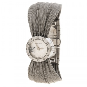 Nina Ricci Silver White Stainless Steel and Diamonds N021.12 Women's Wristwatch 20 mm