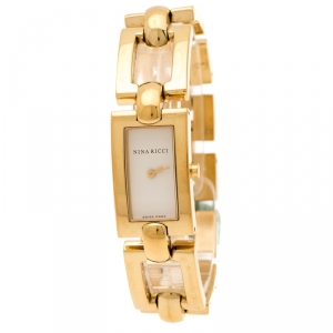 Nina Ricci White Dial Gold Plated Stainless Steel Classic Rectangular N00242 Women's Wristwatch 16 mm