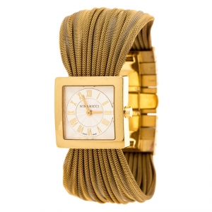 Nina Ricci Silver Gold Plated Stainless Women's N019.42 Women's Wristwatch 24 mm