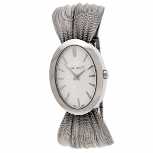 Nina Ricci Silver Pleated Mesh Stainless Steel N035.13 Women's Wristwatch 25 mm