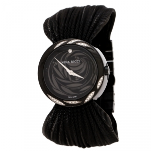 Nina Ricci Black PVD Coated Stainless Steel Diamonds N021.94 Women's Wristwatch 31 mm