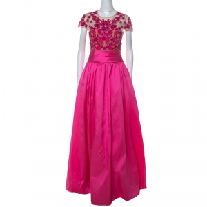 Marchesa Notte Pink Taffeta Embroidered Bodice Detail Mikado Gown L