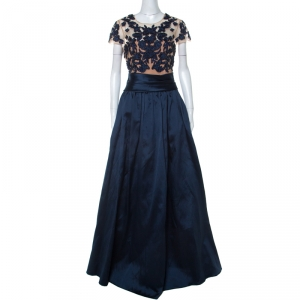 Marchesa Notte Navy Blue Taffeta Embroidered Bodice Detail Mikado Gown XL