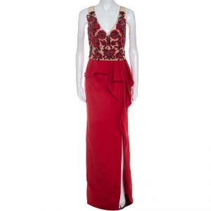 Marchesa Notte Red Beaded Stretch-Faille Column Gown L